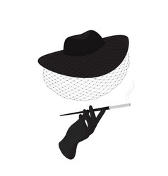 a lady in a hat with a veil and a cigarette vector image