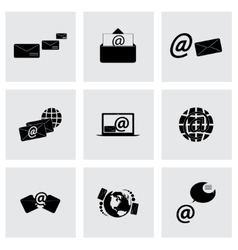 black email icons set vector image