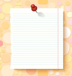Empty Exercise Book Paper Sheet on Light vector image vector image
