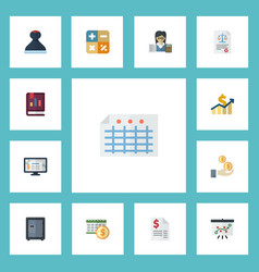 flat icons mark accounting system duty and other vector image