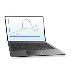 Modern laptop with the chart on the screen vector image