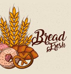 bread fresh bakey tasty products donut pretzel vector image