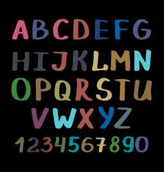 calligraphy alphabet on black background vector image