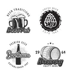 Creative beer set of logos design with mug bottle vector image vector image