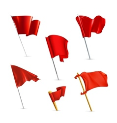 Red flags icon set vector image vector image