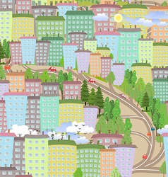 seamless texture with cute houses vector image