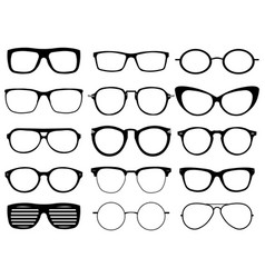 set of custom glasses isolated on white background vector image vector image