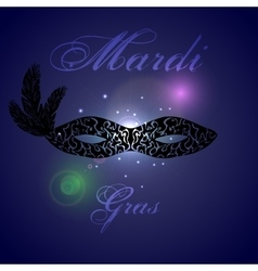 card design with ornate black mask Mardi vector image