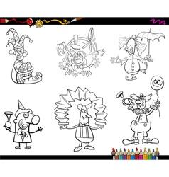 clowns set coloring book vector image