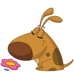 dog smelling flower vector image vector image