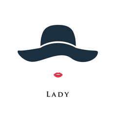 lady with painted lips in a beautiful hat vector image vector image