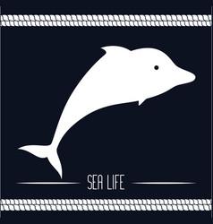 nautical frame with sea life vector image