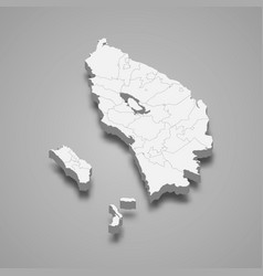 3d isometric map north sumatra is a province vector