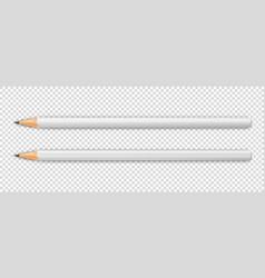 3d realistic sharpened white wooden pencil vector