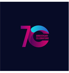 70 years anniversary celebration purple and blue vector