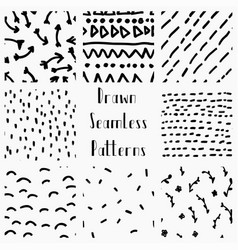 Abstract hand drawn black seamless patterns vector