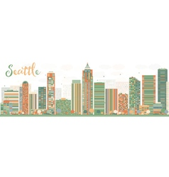 Abstract Seattle City Skyline with Color Buildings vector image