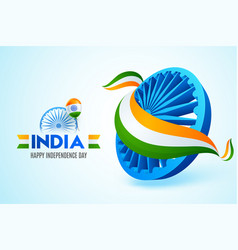 Ashoka wheel covered with national tricolor vector