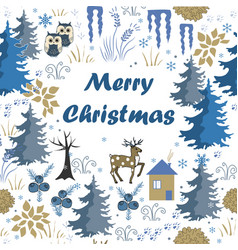 Awesome winter merry christmas card with house in vector