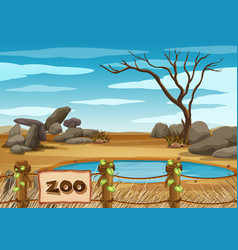 Background scene zoo park with pond vector