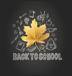 banner back to school with realistic leaves vector image