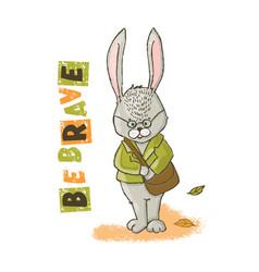 Be brave hare cartoon animal hand drawn ill vector