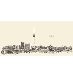 Berlin Skyline Silhouette Engrave Hand Draw vector