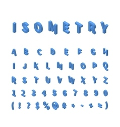 Blue isometric font isolated on white vector