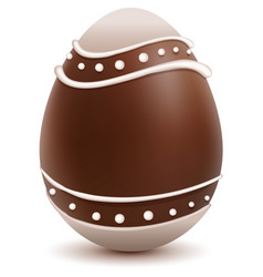 brown easter egg decorated with white chocolate vector image