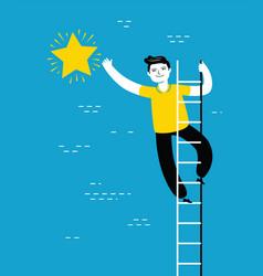 businessman climbing ladder to reach star vector image