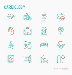 Cardiology thin line icons set vector