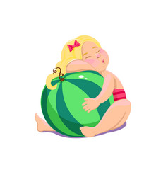 Cartoon girl sitting with watermelon vector