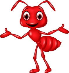 Cartoon red ant waving isolated on white vector