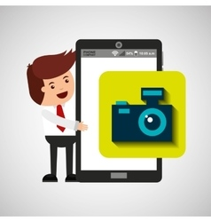Character with mobile app camera photo vector