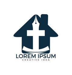 Christian church logo design vector
