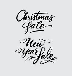 christmas and new year sale handwriting calligraph vector image