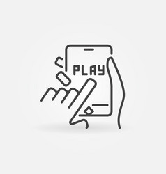 click on play button on smartphone outline vector image