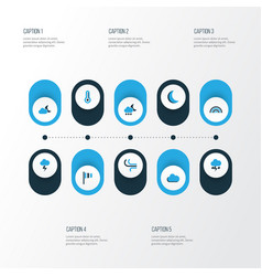 Climate colorful icons set collection of vector