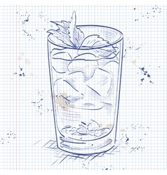 Cocktail mint julep on a notebook page vector
