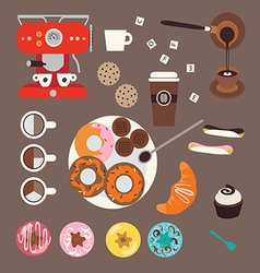 Coffee and sweets vector
