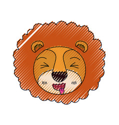 Color crayon silhouette cute face of lion sticking vector