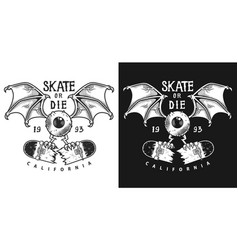 colour emblem design with skate vector image