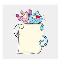 cute cat and mouse best friends vector image