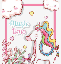 Cute unicorn with hearts and plants leaves vector