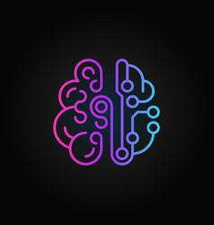 Cyberbrain colorful line icon smart brain vector