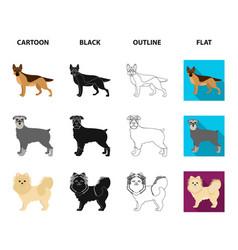 Dog breeds cartoonblackoutlineflat icons in set vector