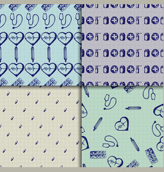 doodle seamless paterns medicine icons set vector image