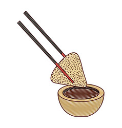 dumpling rice plate and soy sauce with sticks vector image