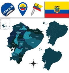Ecuador map with named divisions vector