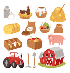 farm tools and symbols house traktor vector image
